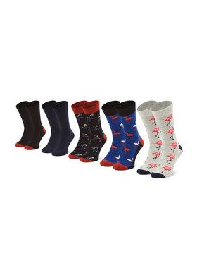 Jack&Jones Jack&Jones Súprava 5 párov vysokých pánskych ponožiek Jacsummer Flamingo12185834 r.OS Tmavomodrá