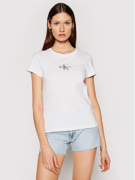 Calvin Klein Jeans Calvin Klein Jeans Marškinėliai J20J216577 Balta Slim Fit