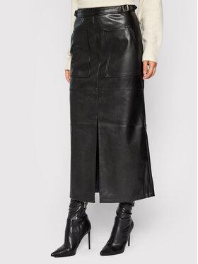 NA-KD NA-KD Spódnica z imitacji skóry Belted 1018-007370-0002-581 Czarny Regular Fit