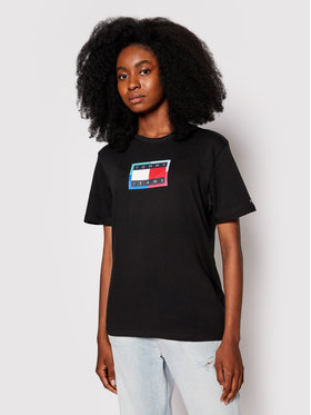 Tommy Jeans Tommy Jeans Tricou Multi Flag DW0DW10434 Negru Relaxed Fit