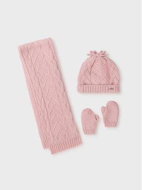Mayoral Mayoral Zestaw czapka, szalik i rękawiczki 10106 Różowy