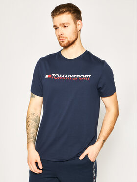 Tommy Sport Tommy Sport T-Shirt Logo Chest S20S200051 Granatowy Regular Fit