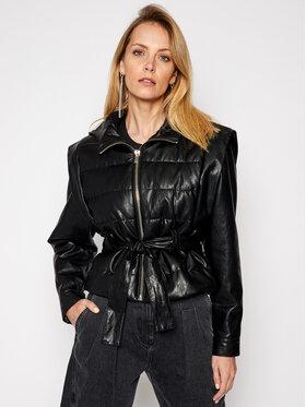 Pinko Pinko Kožená bunda Abbiente 20211 BLK01 1G15UD. Y6W7 Černá Regular Fit