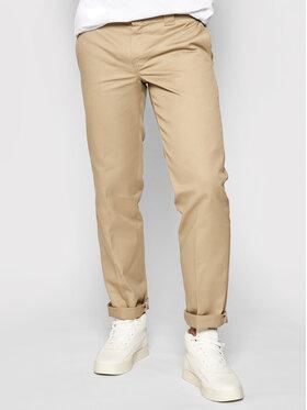 Dickies Dickies Текстилни панталони Straight Work DK0WP873 Бежов Slim Fit