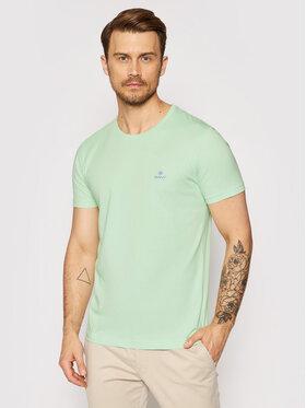 Gant Gant T-Shirt Contrast Logo 2053004 Zelená Regular Fit