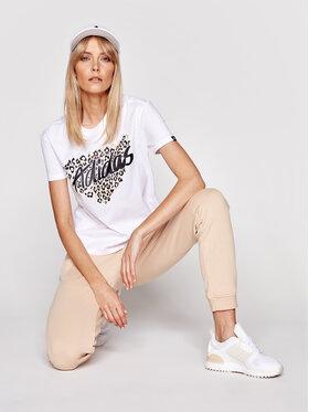 adidas adidas Tricou Leopard Graphic GL0845 Alb Loose Fit