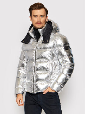 Les Hommes Les Hommes Vatovaná bunda LLO502733U Stříbrná Regular Fit