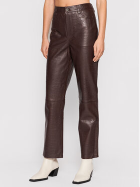 Gestuz Gestuz Pantalon en cuir Sally 10905552 Marron Regular Fit