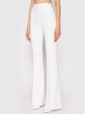 Elisabetta Franchi Elisabetta Franchi Текстилни панталони PA-392-16E2-V220 Бял Slim Fit