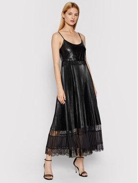 TWINSET TWINSET Šaty z imitace kůže 212TP2091 Černá Regular Fit