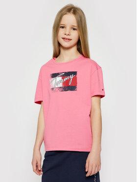 Tommy Hilfiger Tommy Hilfiger T-shirt Flag Print KG0KG05909 D Ružičasta Regular Fit