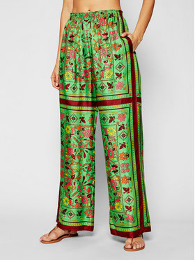 Tory Burch Tory Burch Pantalon en tissu Silk Scarf 82610 Vert Relaxed Fit