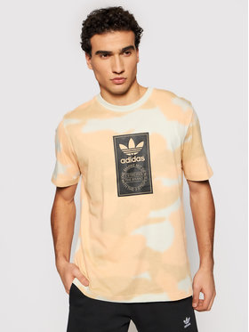 adidas adidas T-shirt Camo Tongue Label GN1864 Beige Regular Fit