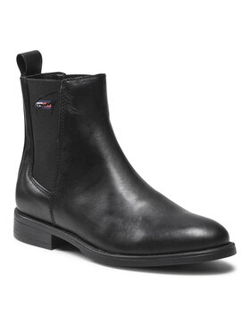 Tommy Jeans Tommy Jeans Μποτάκια με λάστιχο Essemtials Leather Flat Boot EN0EN01518 Μαύρο