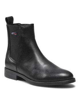 Tommy Jeans Tommy Jeans Sztyblety Essemtials Leather Flat Boot EN0EN01518 Czarny