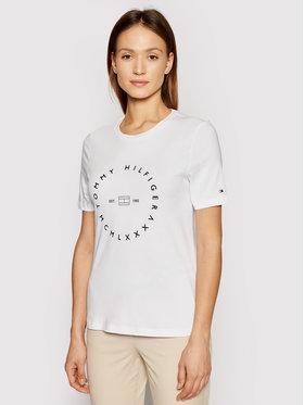 Tommy Hilfiger Tommy Hilfiger T-shirt Circle C-Nk WW0WW29584 Blanc Regular Fit
