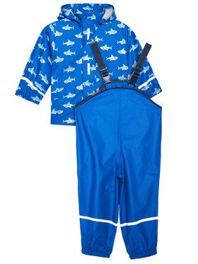 Playshoes Playshoes Komplet kurtka przeciwdeszczowa i spodnie 408690 M Niebieski Regular Fit