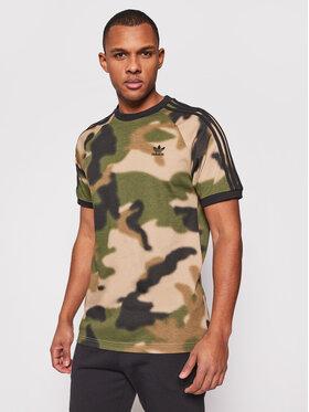 adidas adidas Тишърт Camo 3-Stripes Tee GN1882 Зелен Regular Fit