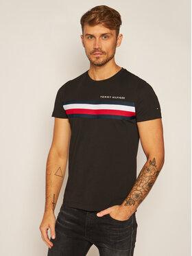 TOMMY HILFIGER TOMMY HILFIGER T-Shirt Global Stripe MW0MW14337 Μαύρο Regular Fit