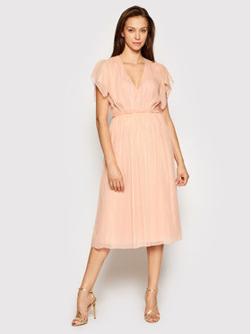 Nissa Nissa Sukienka koktajlowa RS12446 Różowy Regular Fit