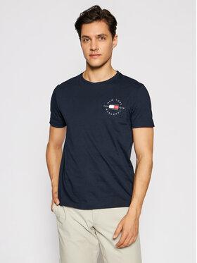 Tommy Hilfiger Tommy Hilfiger T-Shirt Circle MW0MW17680 Granatowy Regular Fit