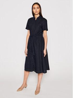 Tommy Hilfiger Tommy Hilfiger Košilové šaty Abo Linen WW0WW32435 Tmavomodrá Regular Fit