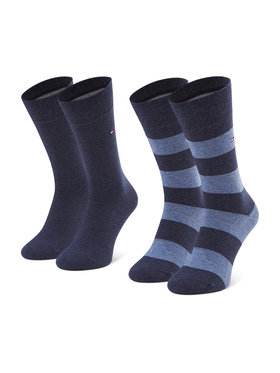 Tommy Hilfiger Tommy Hilfiger Sada 2 párů pánských vysokých ponožek 342021001 Tmavomodrá