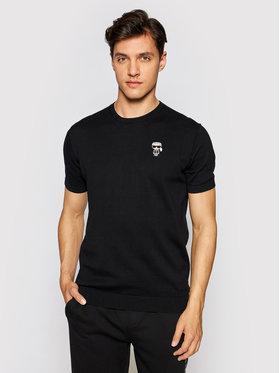 KARL LAGERFELD KARL LAGERFELD T-shirt Knit Crewneck 1/2 655007 511398 Crna Regular Fit