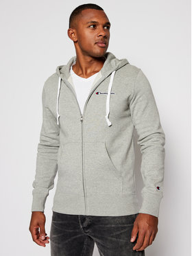Champion Champion Bluza Zip-Up Script Logo Fleece 214719 Szary Comfort Fit