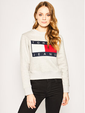 Tommy Jeans Tommy Jeans Sweatshirt Flag DW0DW07414 Grau Regular Fit