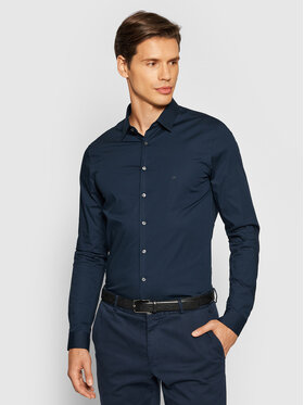 Calvin Klein Calvin Klein Koszula Logo Stretch K10K107346 Granatowy Extra Slim Fit