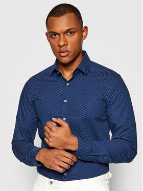 Calvin Klein Calvin Klein Marškiniai Dot Print Easy Care K10K106680 Tamsiai mėlyna Slim Fit