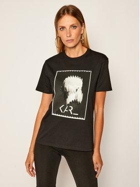 KARL LAGERFELD KARL LAGERFELD T-Shirt Legend Print 205W1718 Černá Loose Fit