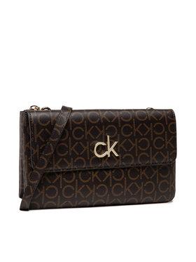 Calvin Klein Calvin Klein Borsetta Ew Dbl Comp Xbody W/Flap Mono K60K608320 Marrone