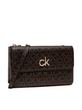 Calvin Klein Calvin Klein Дамска чанта Ew Dbl Comp Xbody W/Flap Mono K60K608320 Кафяв
