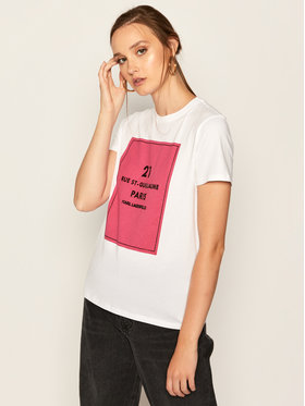 KARL LAGERFELD KARL LAGERFELD Тишърт Square Address Logo 205W1711 Бял Regular Fit