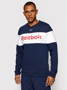Reebok Reebok Majica dugih rukava Essentials Linear Logo GJ0519 Tamnoplava Sllim Fit