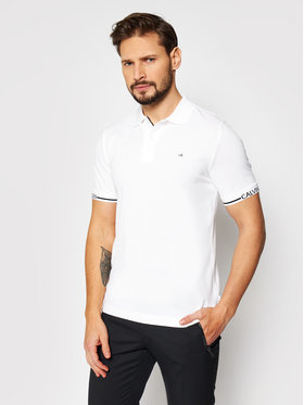 Calvin Klein Calvin Klein Pólóing Logo Cuff K10K107148 Fehér Slim Fit