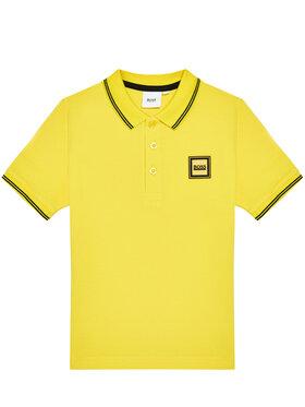 Boss Boss Тениска с яка и копчета J25L14 M Жълт Regular Fit