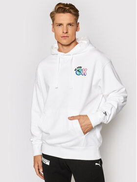 Puma Puma Суитшърт Downtown Graphic 530738 Бял Relaxed Fit