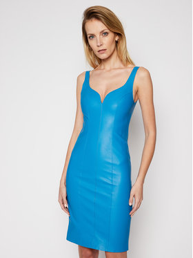 Pinko Pinko Φόρεμα δερμάτινο Pudico 20211 BLK01 1G160W. 7105 Μπλε Slim Fit