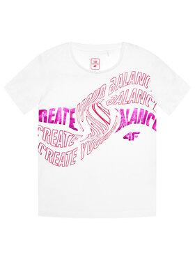 4F 4F Marškinėliai HJL21-JTSD001 Balta Regular Fit