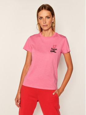 KARL LAGERFELD KARL LAGERFELD Marškinėliai Forever Karl 205W1702 Rožinė Regular Fit