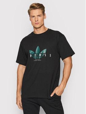 adidas adidas T-Shirt Trefoil Script H31329 Czarny Regular Fit