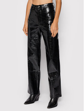 ROTATE ROTATE Pantaloni in similpelle Rotie Pants RT576 Nero Relaxed Fit