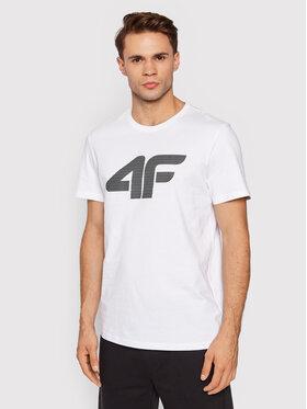 4F 4F T-Shirt TSM353 Biały Regular Fit