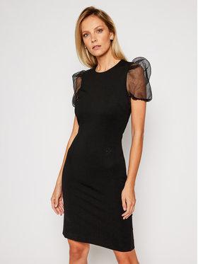KARL LAGERFELD KARL LAGERFELD Kokteilinė suknelė Organza Sleeve Punto 206W1363 Juoda Slim Fit