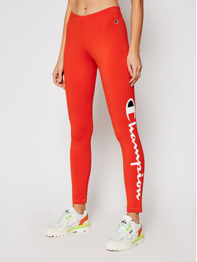 Champion Champion Leggings Large Script Logo 112857 Orange Athletic Fit