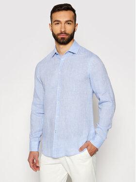 Trussardi Trussardi Cămașă Shirt Close Fit Miami Collar Yard Dyed Lin 52C00075 Albastru Close Fit