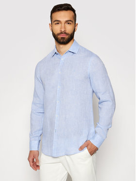 Trussardi Trussardi Marškiniai Shirt Close Fit Miami Collar Yard Dyed Lin 52C00075 Mėlyna Close Fit